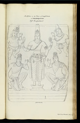 'Sculpture in Cave of Capul Iswar at Mahabalipooram. Left Compartment. Copied by J. Gould 1st March 1819.'